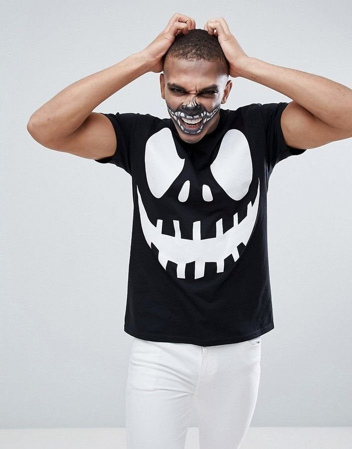00190f145c boohooMAN Halloween T-Shirt With Scary Face Print In Black ...