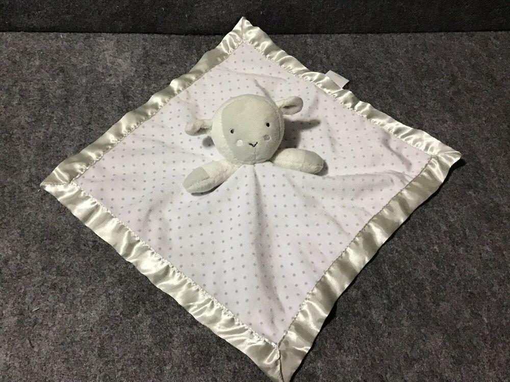 Circo Target Grey White Lamb Sheep Baby Blanket Polka Dot Satin Security Lovey