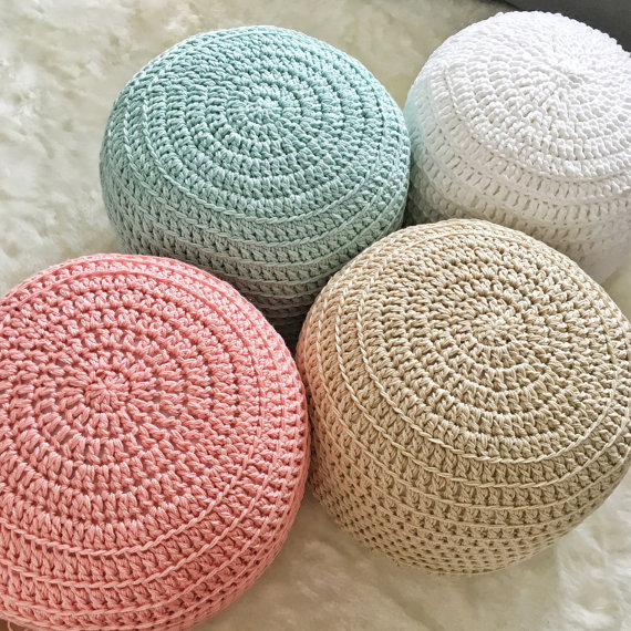 Custom Color-Block Hand Crochet Pillow Ottoman Pouf, Footstool ...