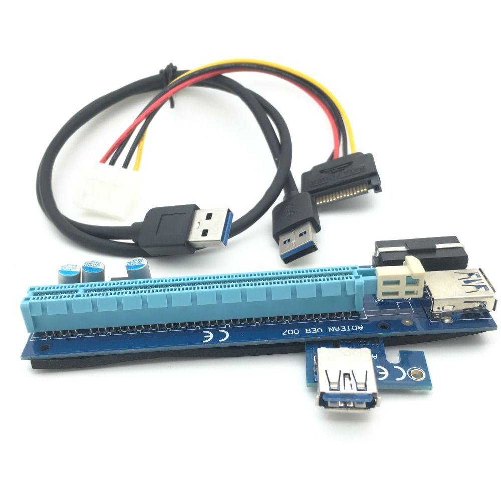 30cm PCIe PCI-E PCI Express Riser Card 1x to 16x with USB3.0 Cable ...