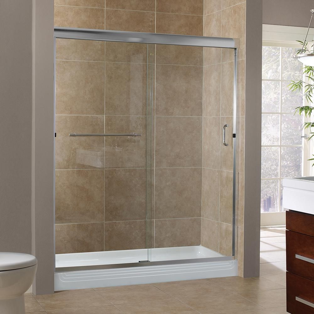Foremost Marina 60 In X 72 In H Semi Framed Sliding Shower Door In Silver With 3 8 In Clear Glass Shower Sliding Glass Door Shower Fixtures Frameless Shower Enclosures