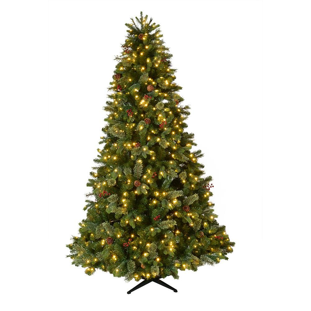 Home Accents Holiday 7 5 Ft Pre Lit Led Westwood Fir Artificial Christmas Tree W Pine Cones And Berries And 650 Warm White Micro Dot Lights Tg76p4924l05 Pre Lit Christmas Tree Christmas Tree Christmas Tree