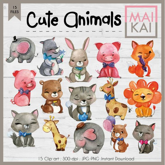 Watercolour Animals Clipart Commercial Use Watercolour Clipart Cute Animals Clipart Watercolour Animals Clip Art Hand Painted Clipart Cute Animal Clipart Animal Clipart Watercolor Animals