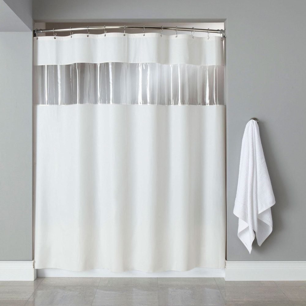 Hooked Hbg03vis0172 White 6 Gauge Vinyl Vision Shower Curtain With
