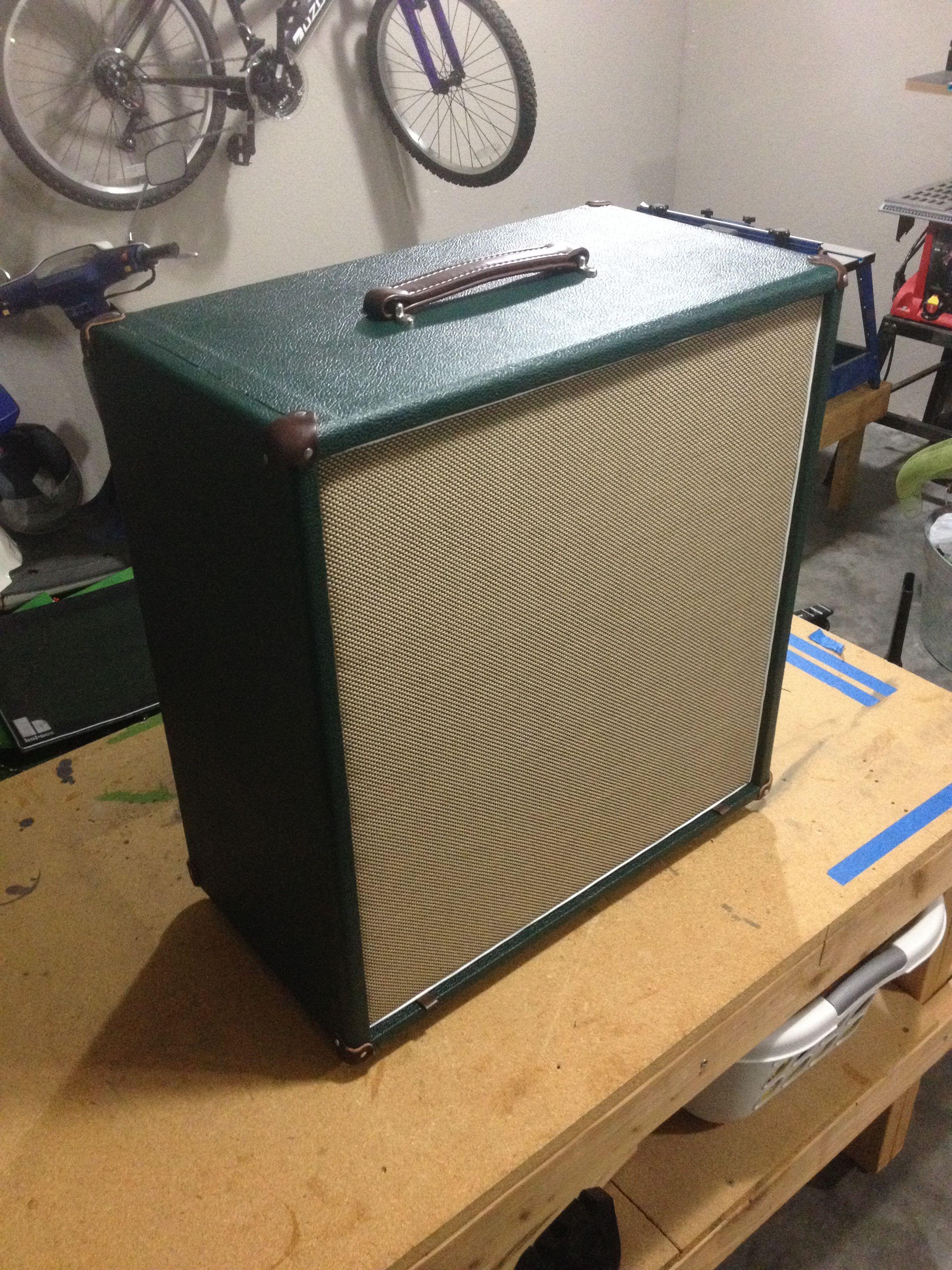 Bass cab build: british levant green tolex (Mojotone
