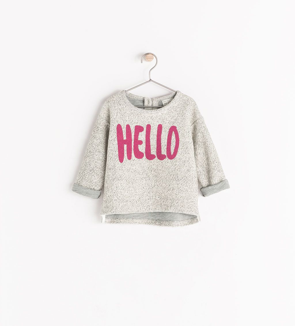 """Imagen 1 de SUDADERA """"HELLO"""" de Zara"""