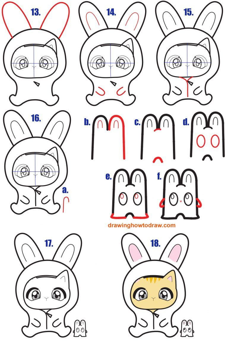 How To Draw A Chibi Kitten In A Bunny Onesie Costume Easy Step By Step Drawing Tutorial For Kids How To Draw Step By Step Drawing Tutorials Drawing Tutorials For