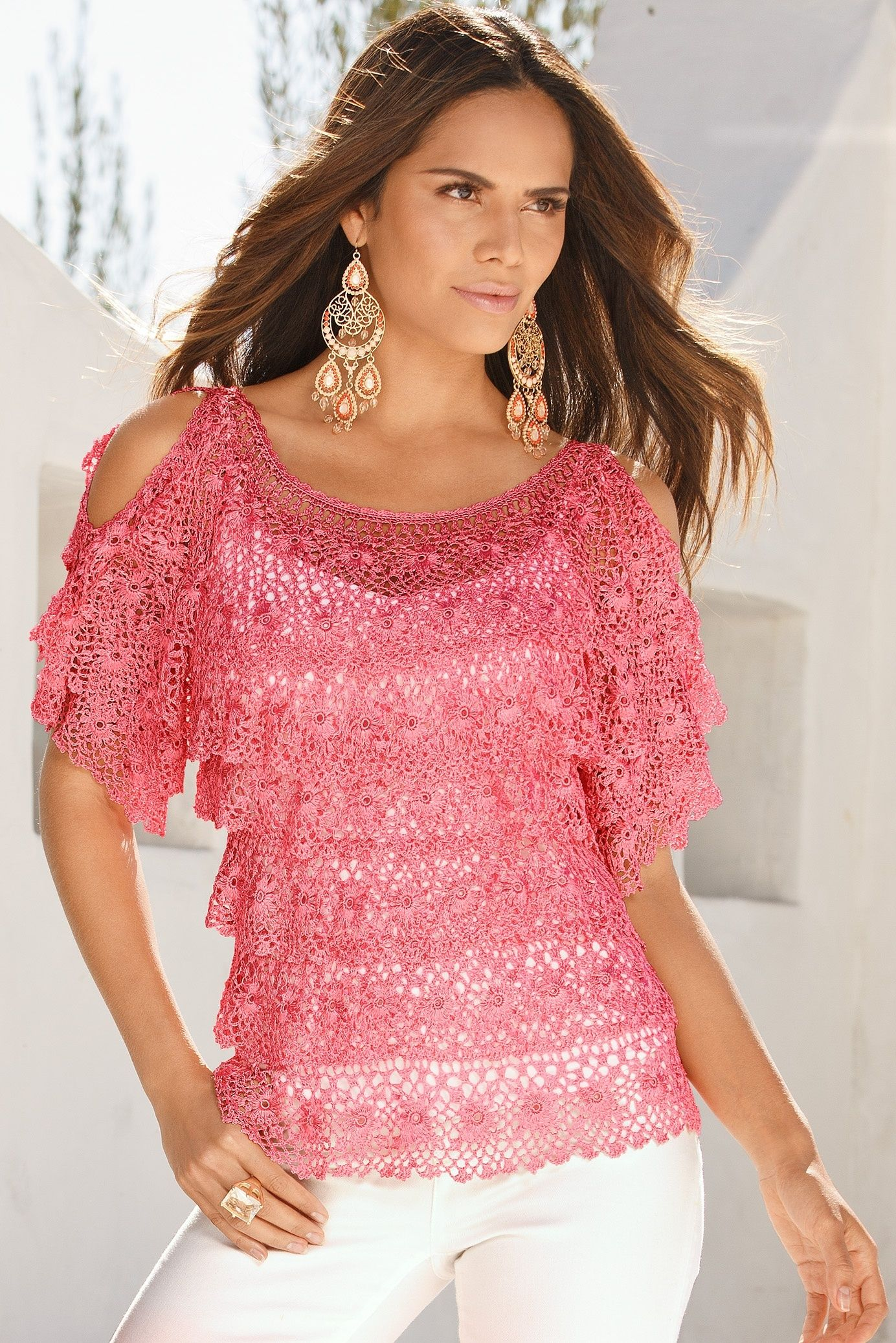 Cold-Shoulder Crochet Salsa Sweater by Boston Proper - Found on ...