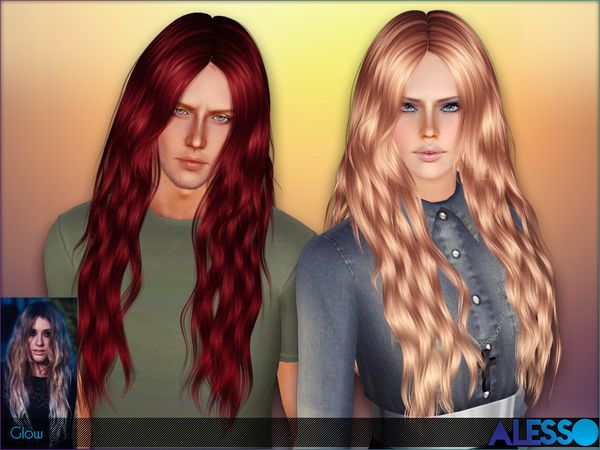 Glow Long Wavy Hair By Alesso Sims 3 Downloads Cc Caboodle Glow Hair Long Wavy Hair Sims 3 Male Hair