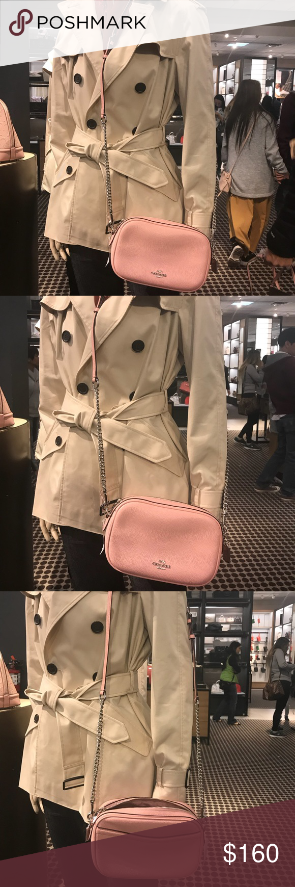 fc44e394a7fc2 Coach Pebble Leather Isla Chain Crossbody Bag Details  Color  Blush  Measurements Body  8