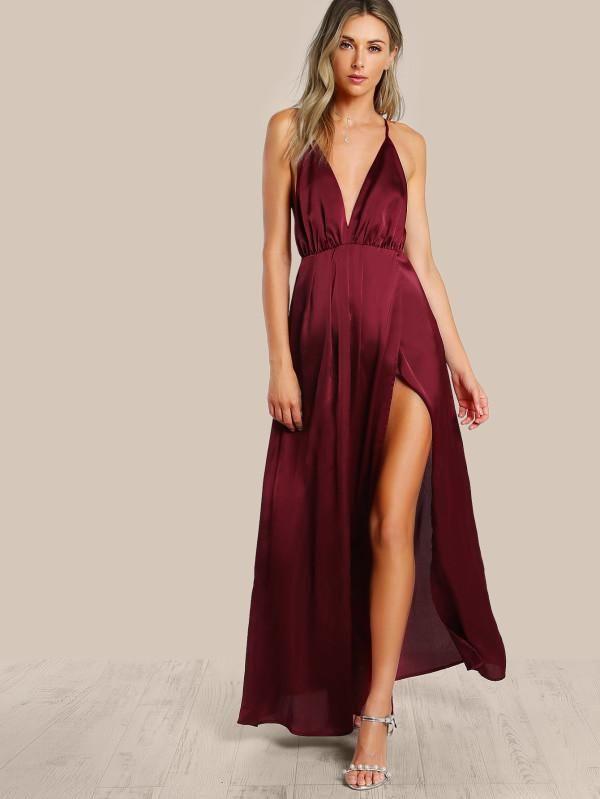 ec665af2a1 Plunge Neck Crisscross Back High Slit Wrap Cami Dress - SR Store ...