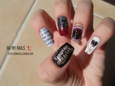 Vampire diaries nails tvd avril lavigne pinterest amazing image via the vampire diaries nail art ideas image via dark red sparkle nails im not really big on red but these are cute the vampire diaries nail art prinsesfo Choice Image