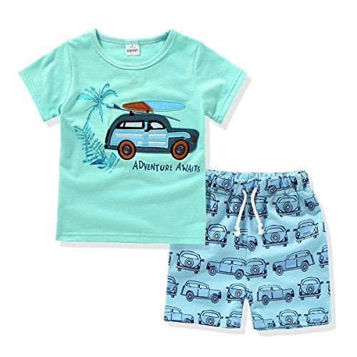 Ajia Kids 2 Piece Short Sleeve Shirt And Shorts For 1 To 5 Years Olds Little Boy Fashion Deals Baby Boy Clothes Summer Boys Summer Outfits Kids Fashion Boy