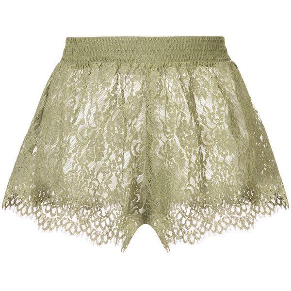 Puma Fenty X Puma by Rihanna Sheer Lace Mini Shorts (1.200 RON) ❤ liked 2535aa00a