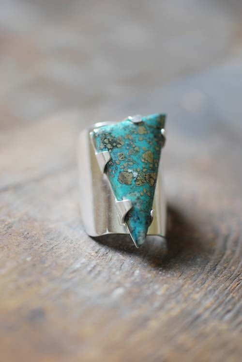 Turquoise Spinnaker Ring Prong Set by dollybirddesign on Etsy