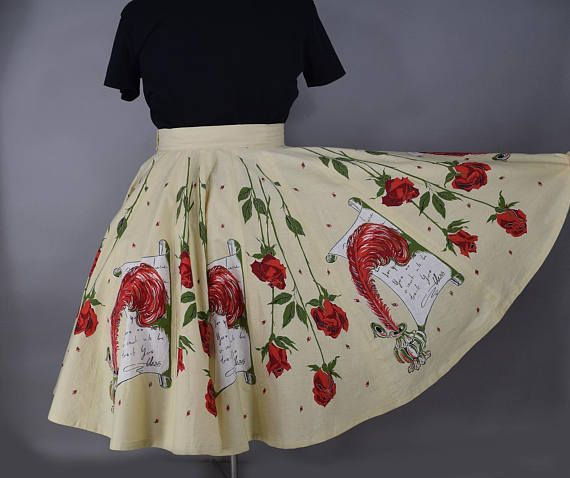 e3e1e99a92979 Vintage 50s Love Letters Novelty Print Full Circle Skirt Volup XL ...