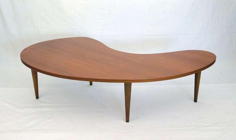 DINING ROOM Mid Century Amoeba Kidney or Comma Shaped Coffee Table