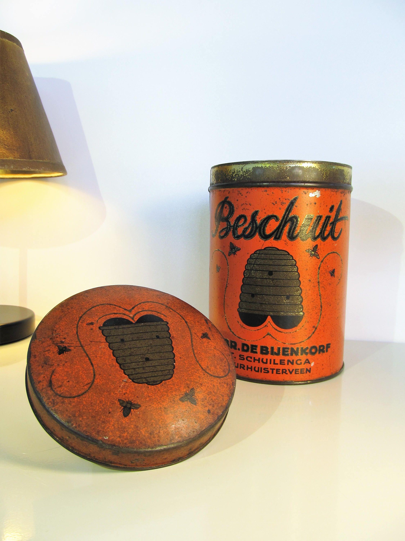 Oude Tin vak Nederlandse bijen en Bijenkorf decoratieve Box