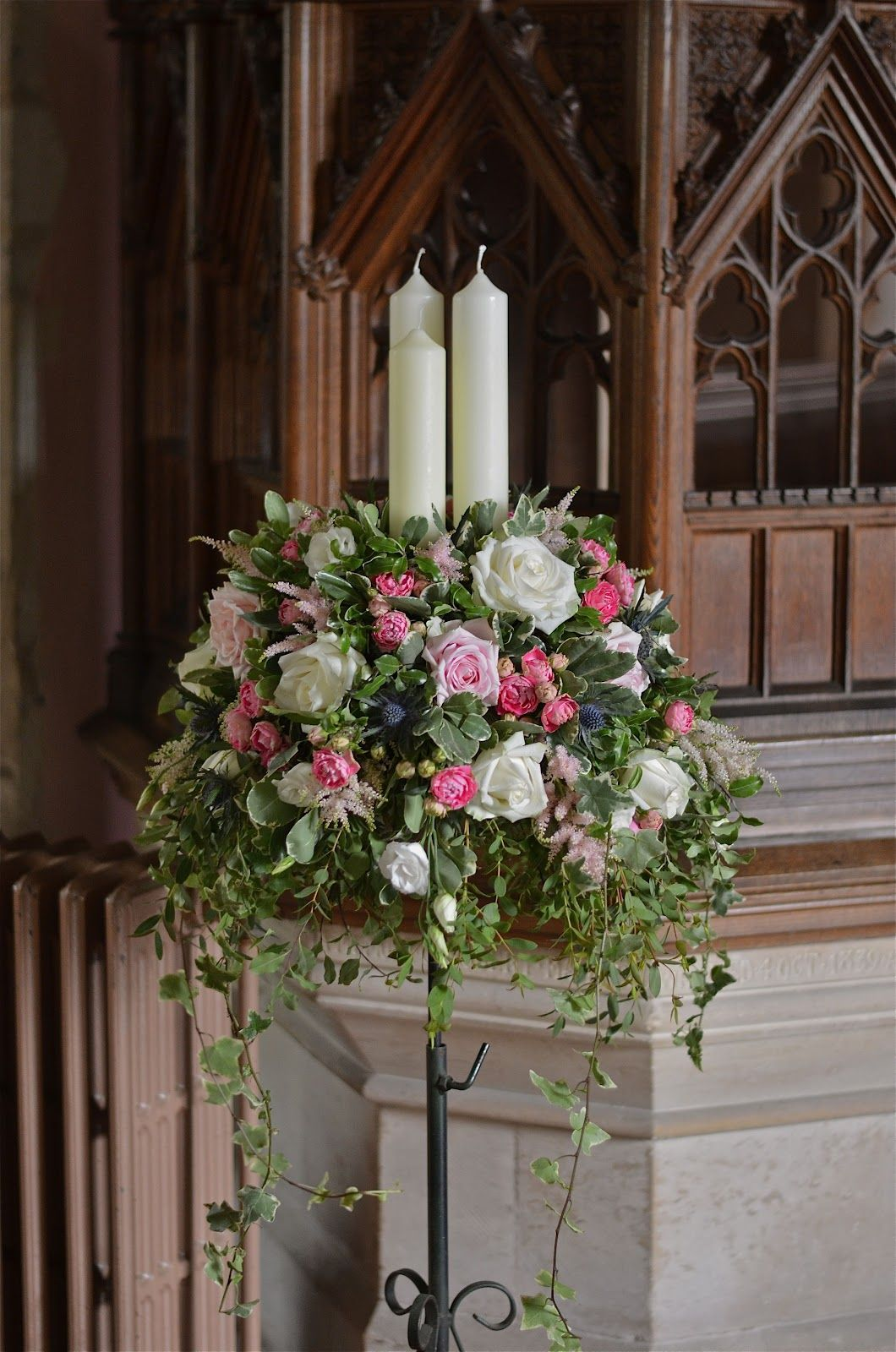 Church Weddings Church Pedestal Flowers With Candles Using Roses