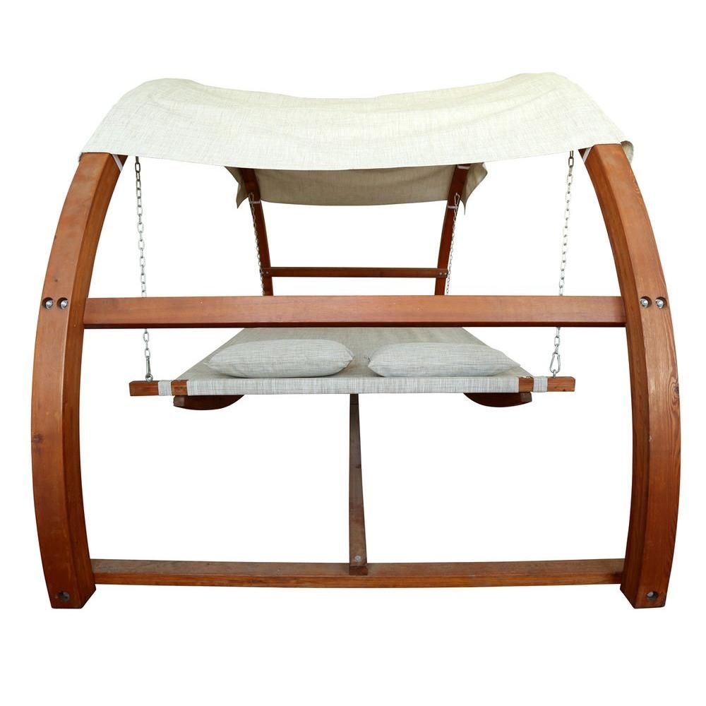 Leisure season patio swing bed with canopy