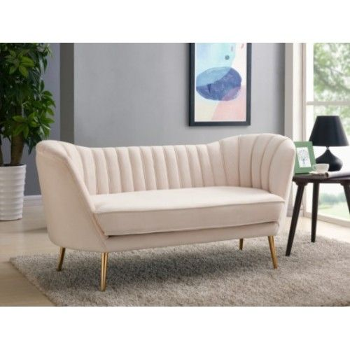 Cream Velvet Chanel Tufted Loveseat Gold Legs Gold Sofa Love Seat Modern Furniture Living Room