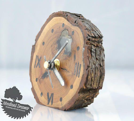 Wooden Clock Wood Clock Wood Slice Clock Bedside Clock Unique