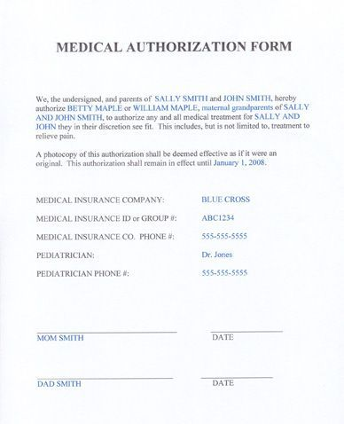 Medical Authorization Form Template   For When Our Kids Travel With Friends  And Extended Family