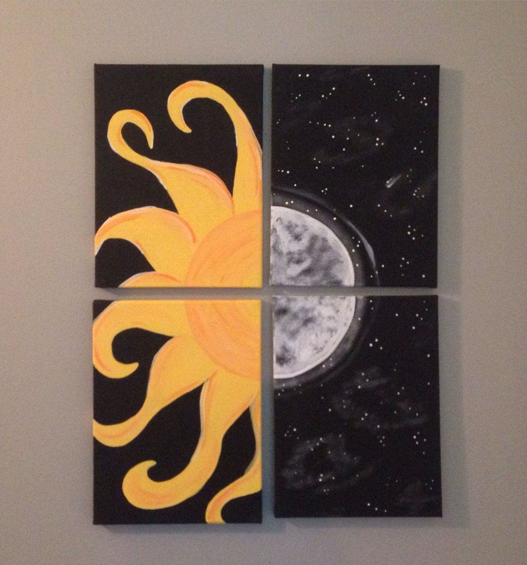 Sun And Moon Canvas Painting Couples Idea