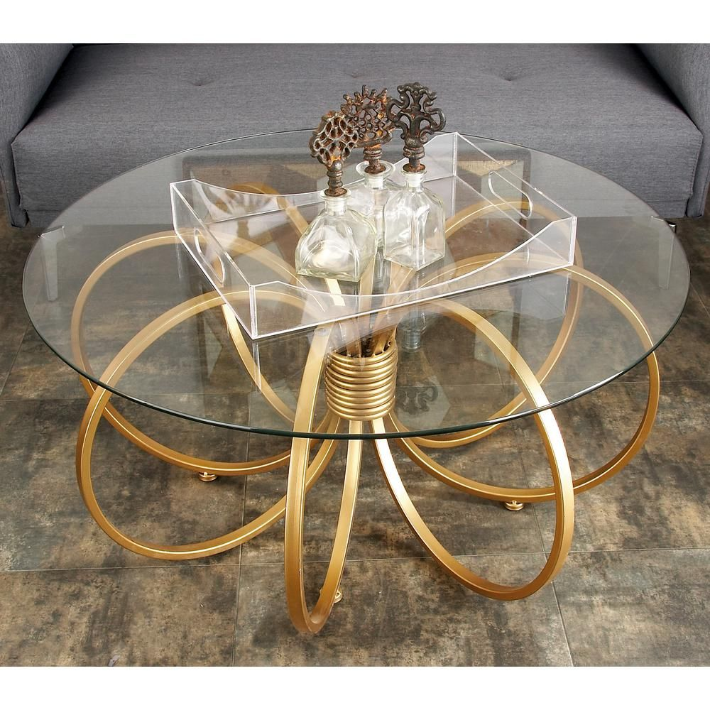 Clear Glass Round Coffee Table With Copper Gold Metallic Hoop Rings Iron Base 97088 The Home Depot Center Table Decor Coffee Table Round Glass Coffee Table [ 1000 x 1000 Pixel ]