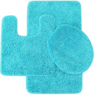 Zipcode Design Kober Solid 3 Piece Bath Rug Set Color Turquoise