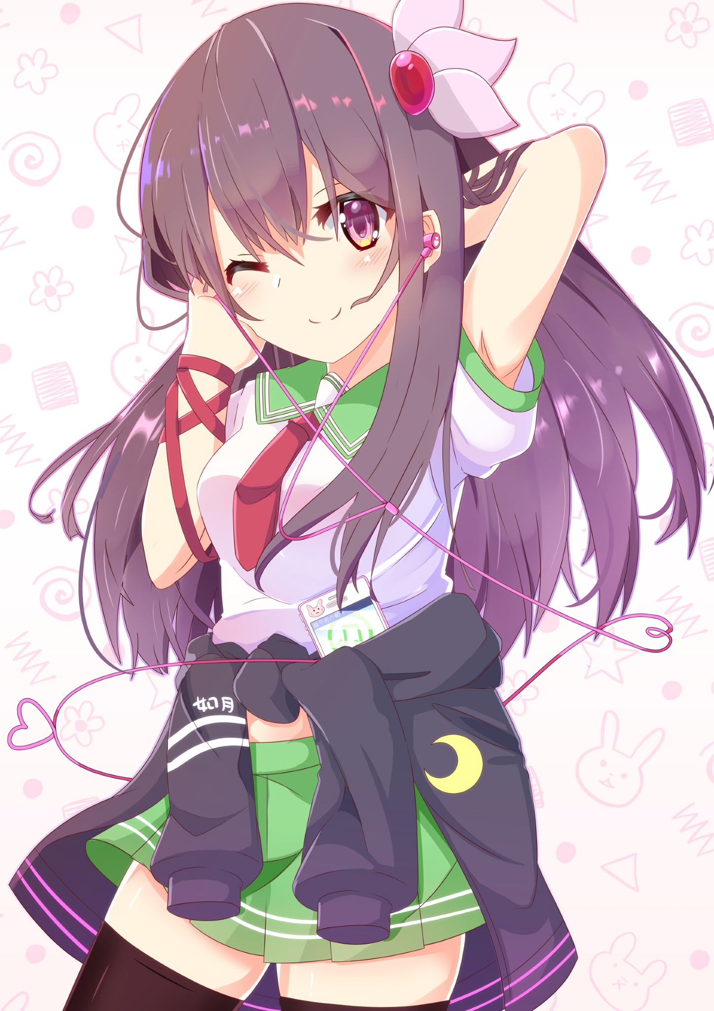( Kisaragi with earphones and endearing wink ) [ Kantai
