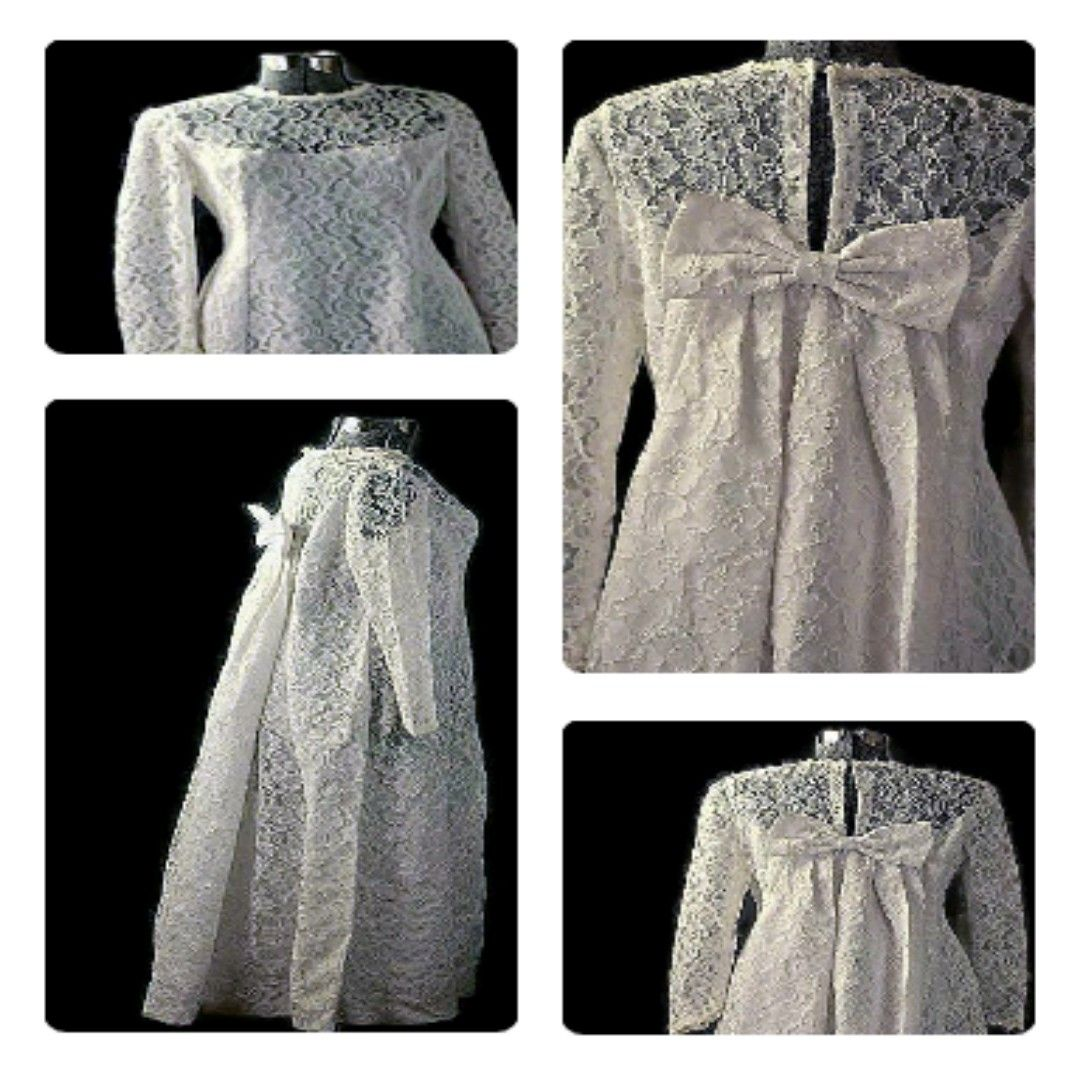 White lace dress vintage  Audrey Lace Dream White Wedding Gown Vintage   White wedding