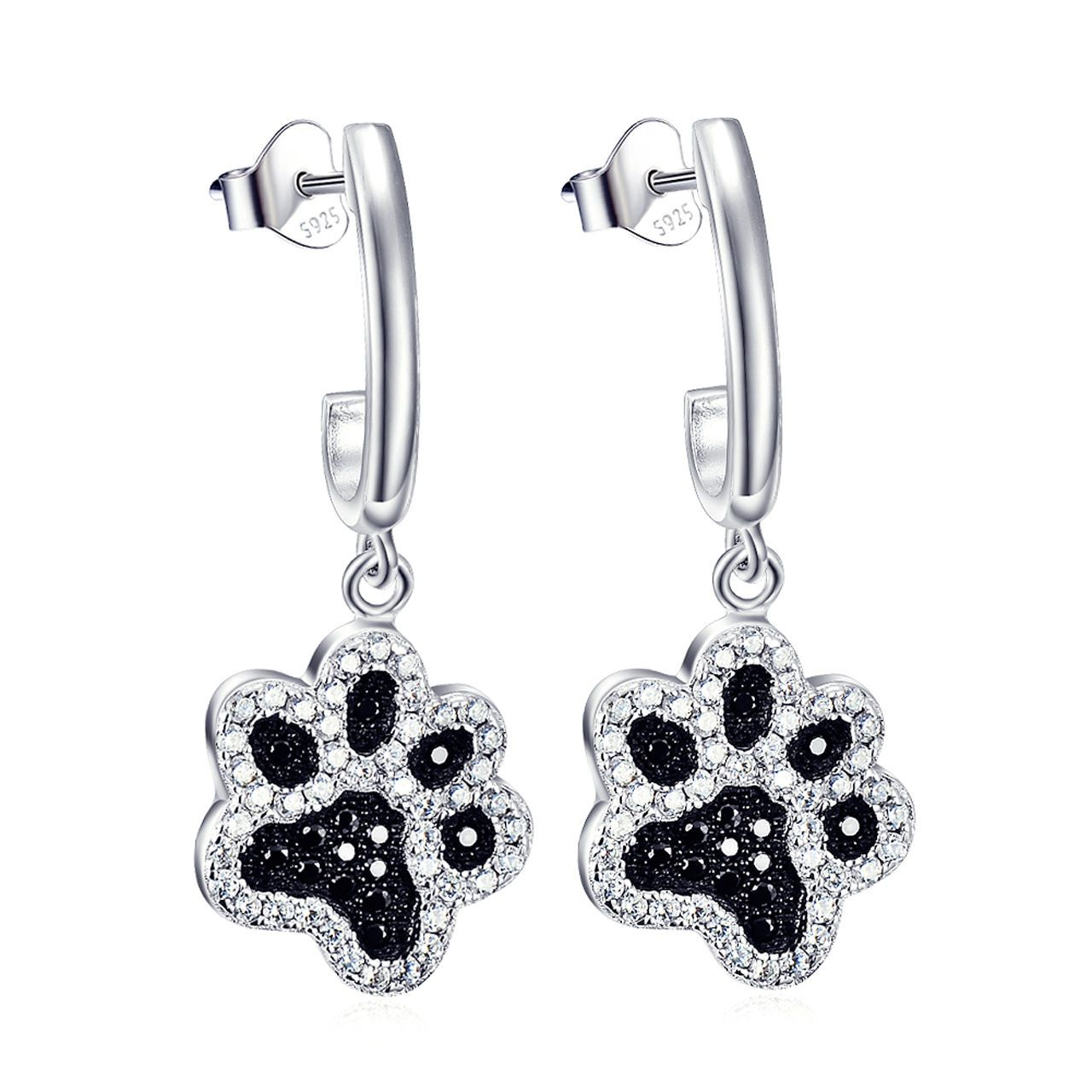Details About Cute Puppy Pet Dog Cat Paw Print Ear Stud