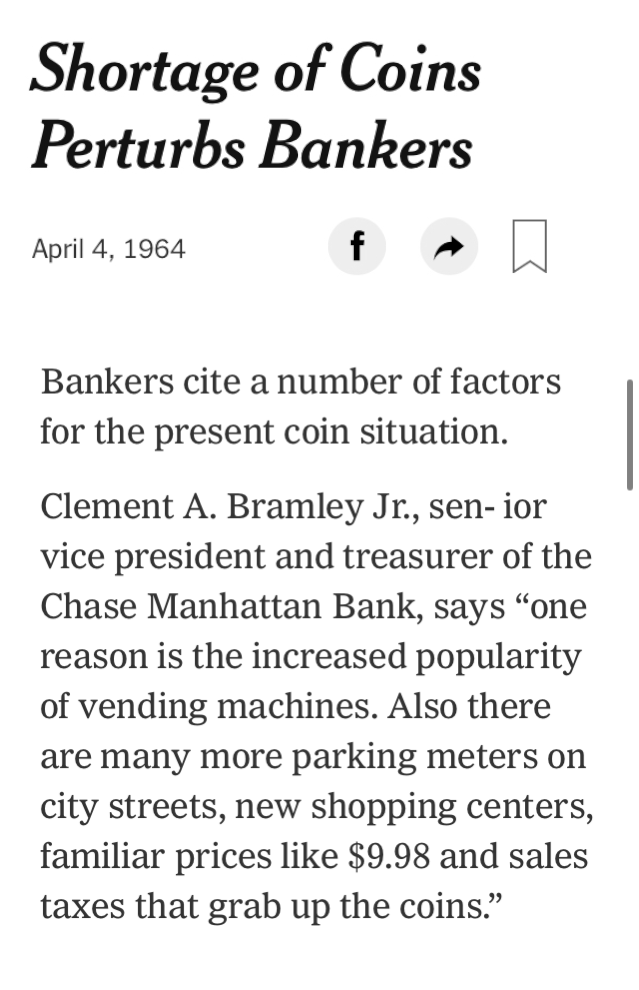 Shortage Of Coins Perturbs Bankers Published 1964 In 2020 Banker Funny Quotes Bank Branch