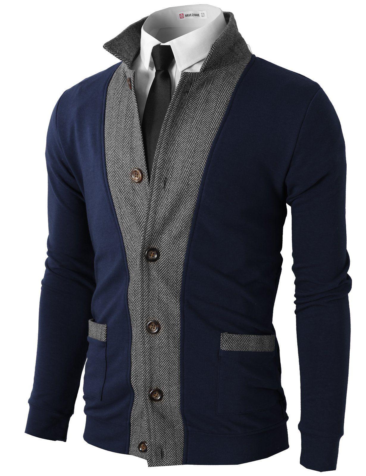 H2H Mens Two-tone Herringbone Jacket Cardigans at Amazon Men's ...