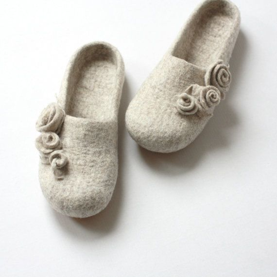 bedroom shoes for womens. Women slippers  felted wool from natural beige with roses weddings gift