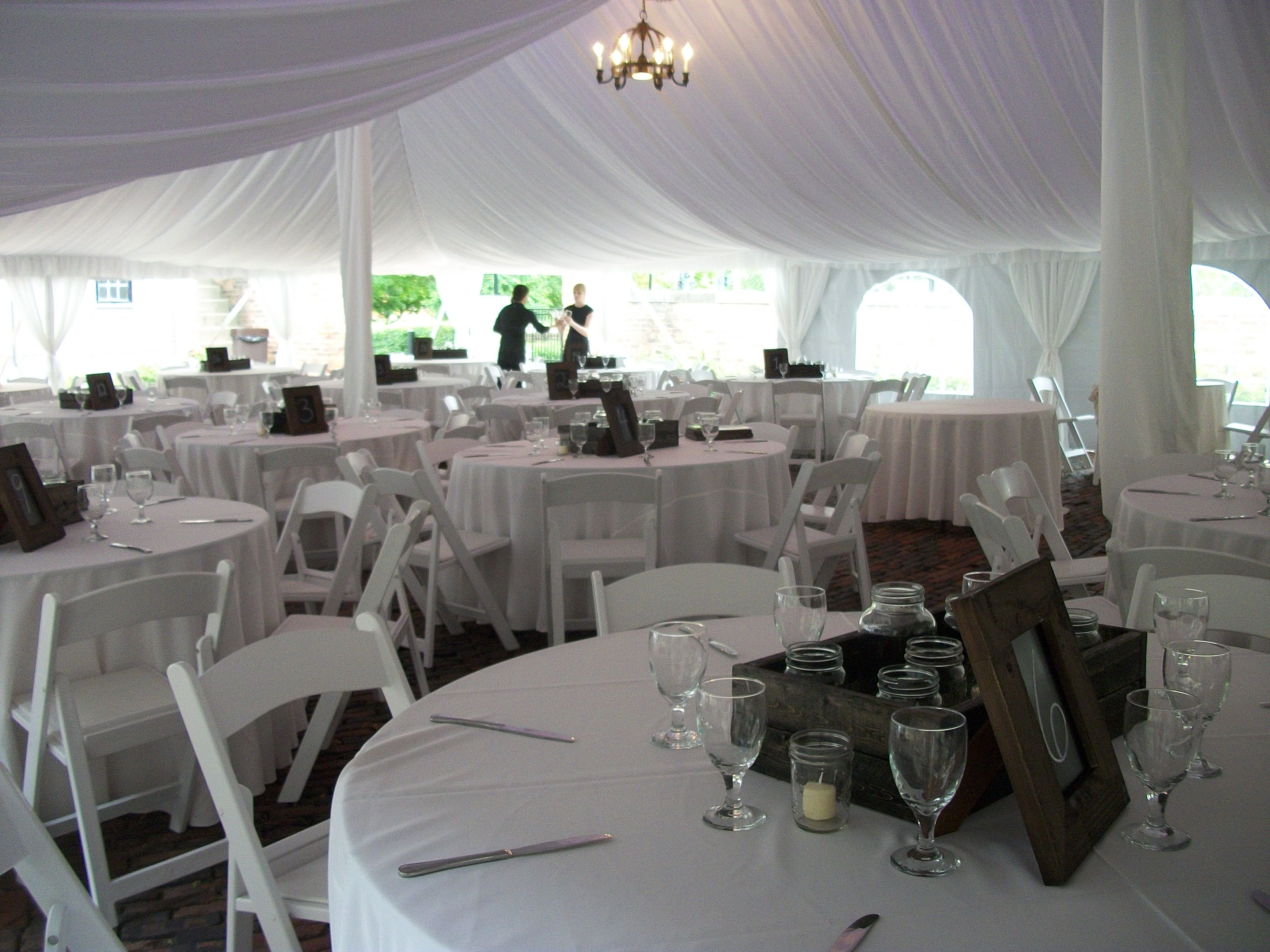 centerpieces leslee beautiful with tent boxwood reception tables drapes draping wedding and mitchell pin