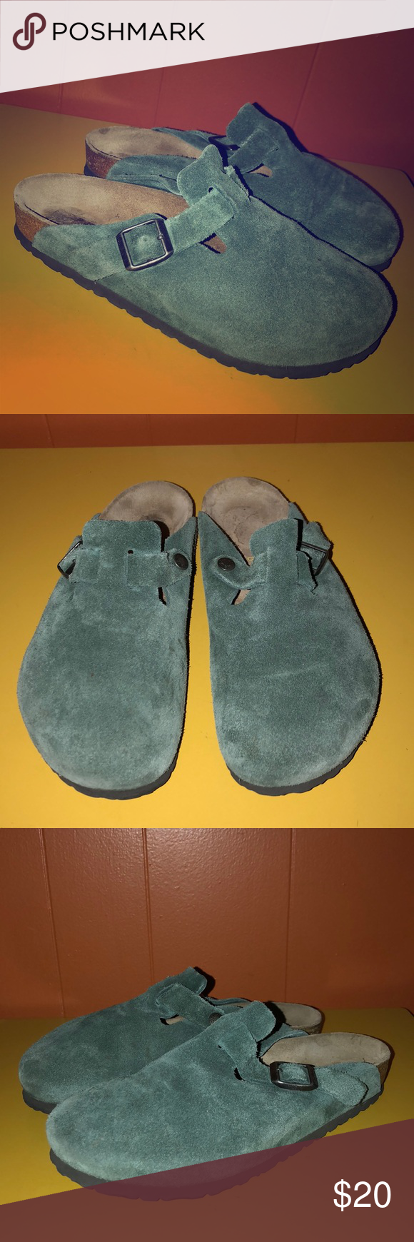 Birkenstock Green Suede Leather Clogs L8 M6 Leather