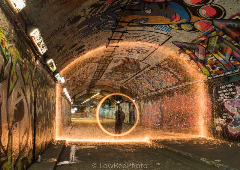 Wire wool spinning in Leake Street Tunnel