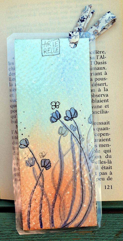 Marque Page Fleur Original Fait Main En Aquarelle Et Tissu