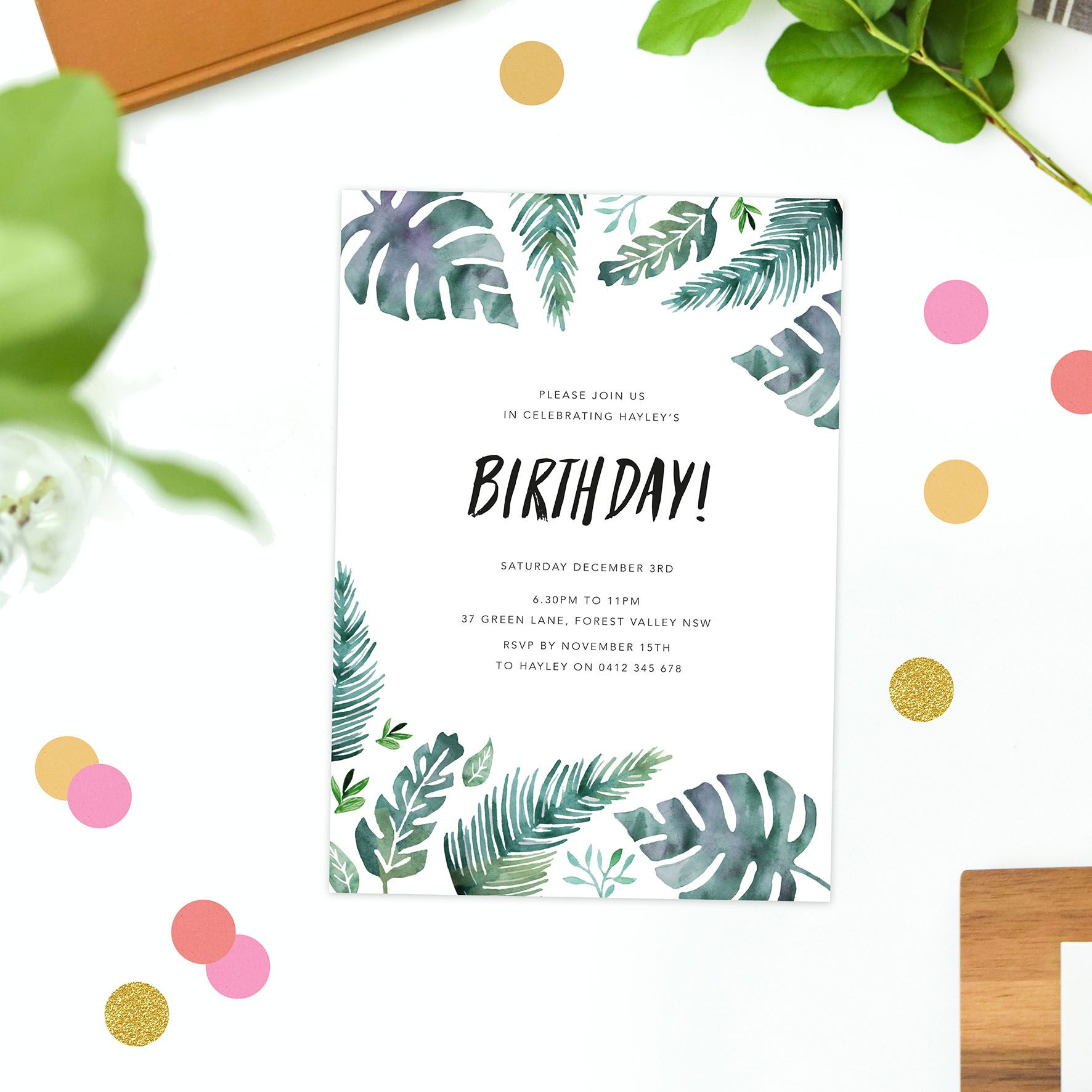 tropical leaf birthday invitations watercolour green monstera leaves ...