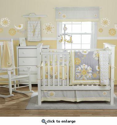 Baby Crib Bedding Sets, Yellow Gray Crib Bedding