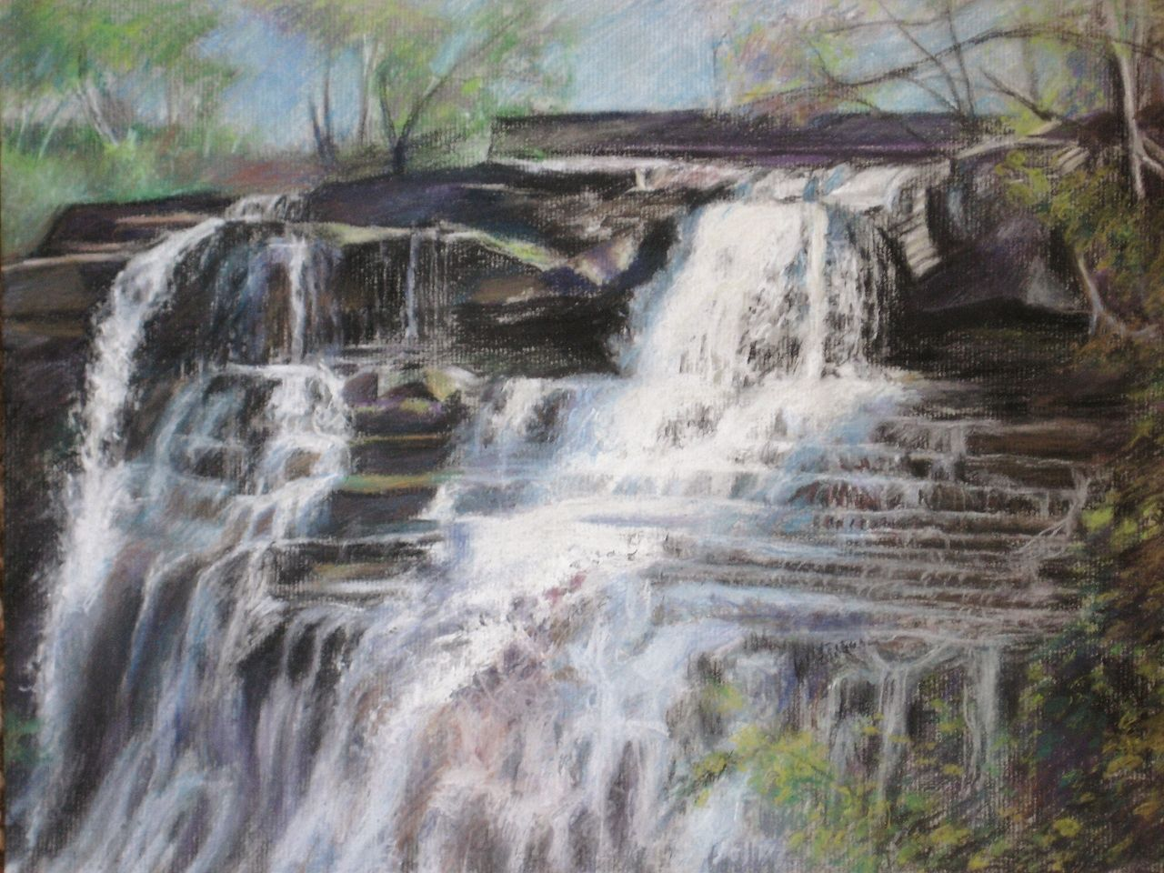 Brandywine Falls (Cuyahoga Valley, Ohio) by Kelsey Hamersley ~ Charcoal and pastel drawing