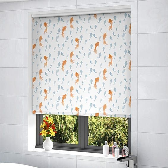Splash Koi Pool Blue Roller Blind 20from 20blinds 202go