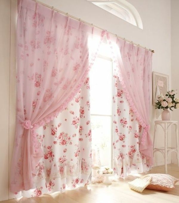 floral motifs two layers shabby chic curtains pastel pink white ...