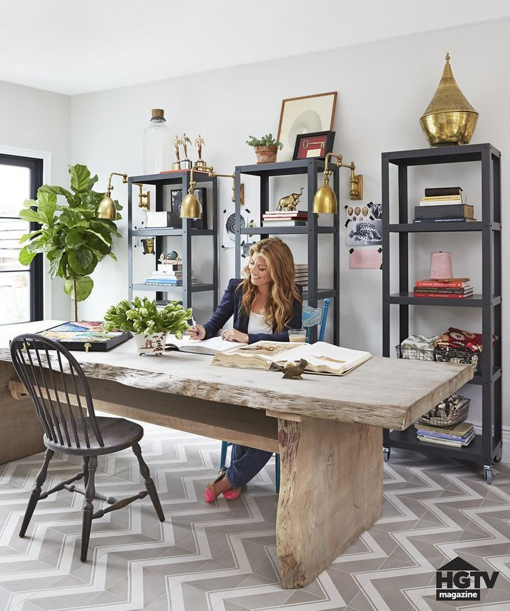 Beautiful dining room / office combination by HGTV designer