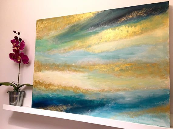 Tableau Luxe Peinture Or Paysage Abstrait Mer Ciel Et Abstract Art Painting Abstract Abstract Painting