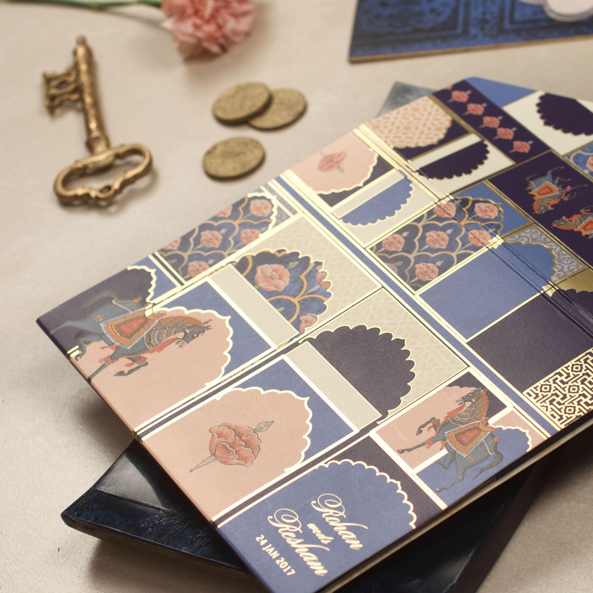 Indigo Maharaja Wedding Invitation Peel & Seal Folder Style with