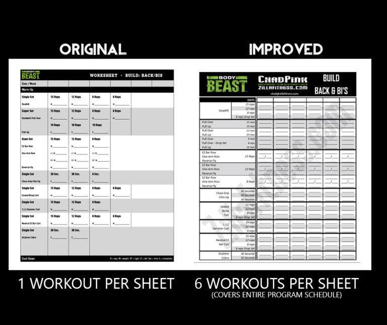 Free Improved Body Beast Workout Sheets  Body Beast Workout Sheets