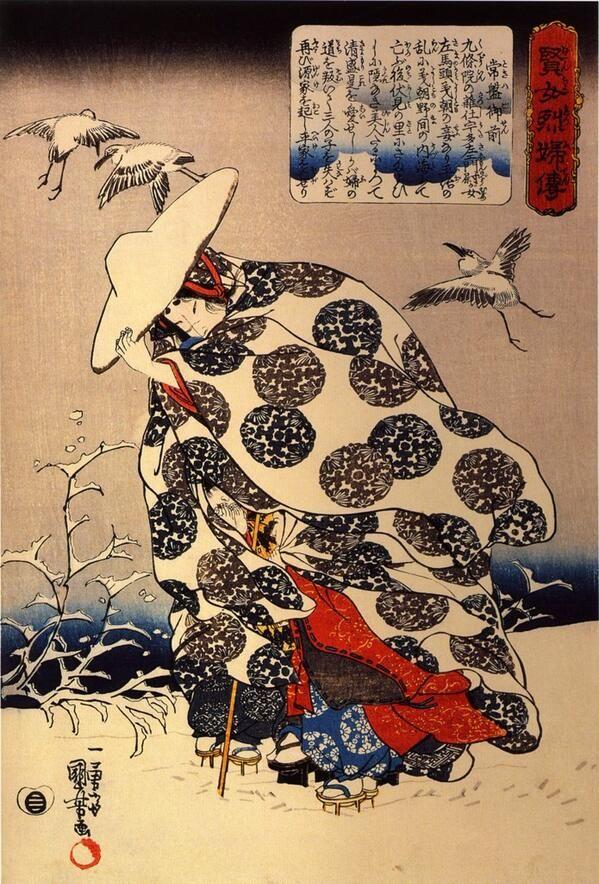 Utagawa Kuniyoshi(歌川国芳)「Tokiwa-Gozen with her three children in the snow」(1840)